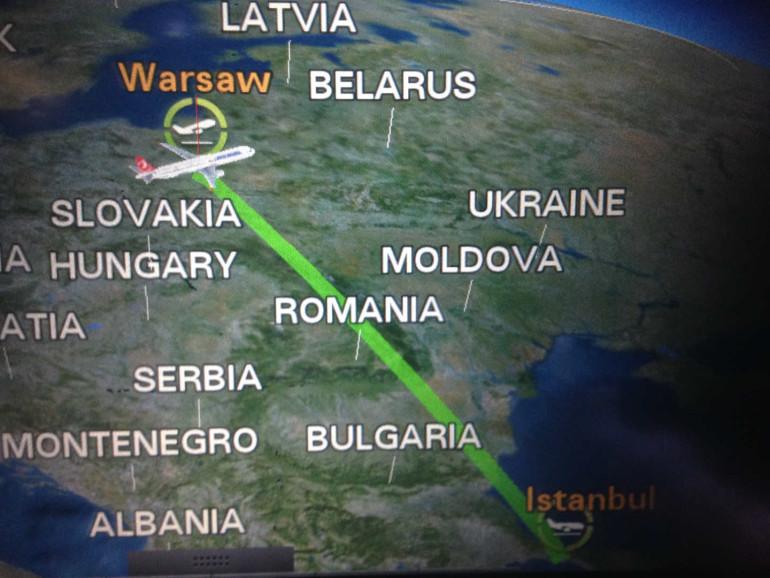 Mapka lotu... Tak na wszelki wypadek, jakby ktoś nie wiedział gdzie leci.