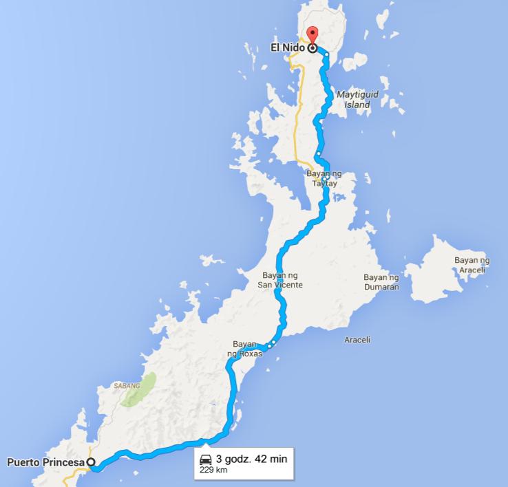Mapa z Puerto Princesa do El Nido
